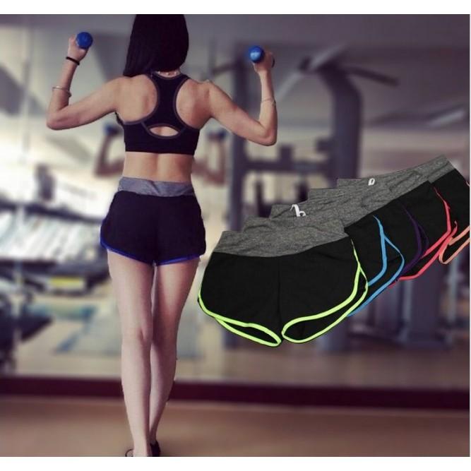 防走光瑜伽褲 短褲女跑步休閒瑜伽熱褲綁帶內襯高彈力速乾健身短褲