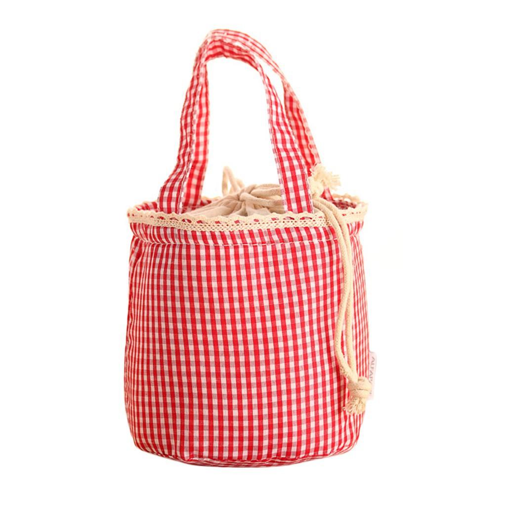 格子帆布隔熱飯盒保溫袋手提包袋玫瑰