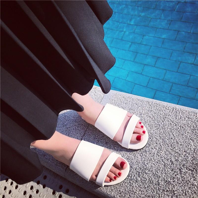 涼拖鞋  防滑平底一字拖鞋平跟一字型韓國室外涼拖鞋女潮~台北韓風館~