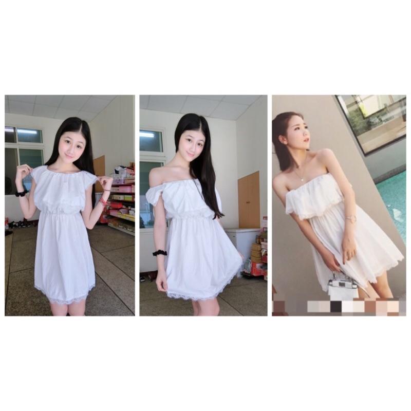 ❣女神裝扮❣✨yiyi 小物✨平口一字荷葉邊蕾絲短洋裝白色寬鬆的甜美連衣裙,一字高 蕾絲面