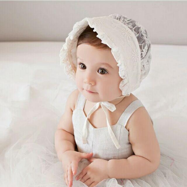 小花公主帽春 寶寶蕾絲帽嬰兒帽宫廷帽