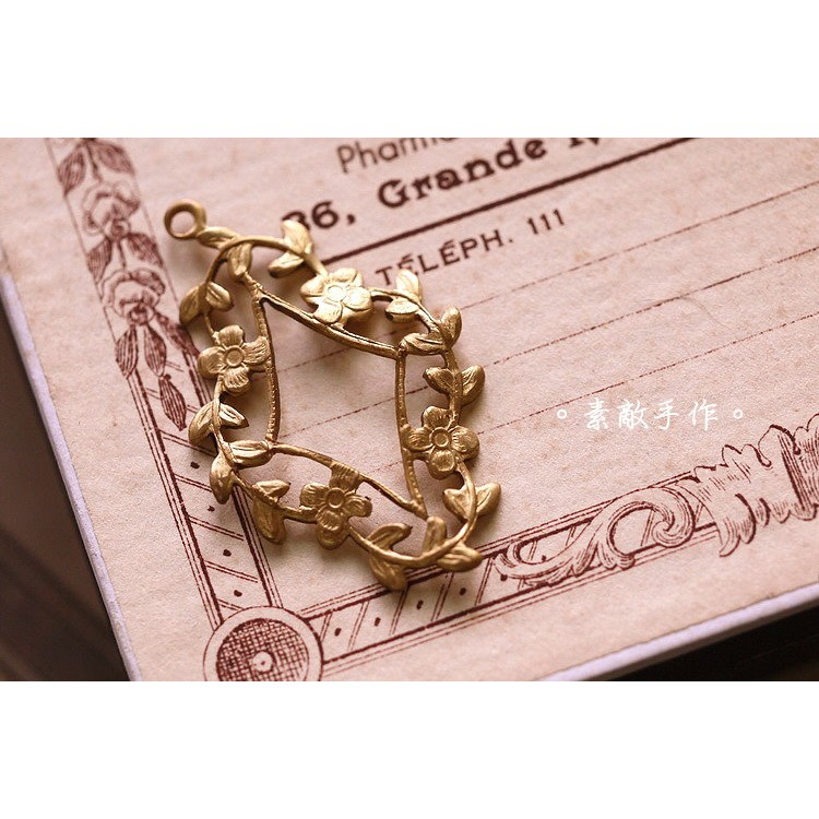 ~素敵手作Antique 材料~美國古董老貨純銅單孔吊墜超美菱形花環