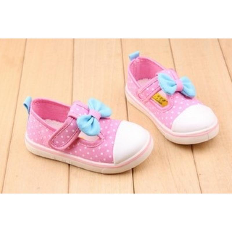 可愛點點丁字蝴蝶結兒童帆布鞋休閒鞋板鞋布鞋女童鞋寶寶鞋小童中童內長12CM 17 5CM