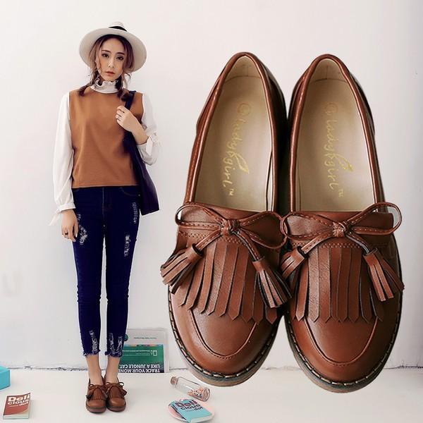 淺口學院英倫風女鞋流蘇皮鞋複古粗跟低跟單鞋大碼平底牛津鞋