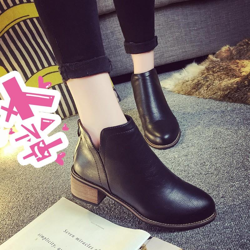 ☞☞❤ 匯❤☜☜ 短靴英倫風粗跟短靴女 靴子平底馬丁靴潮女中跟及裸靴短筒學生女靴靴子裸靴高