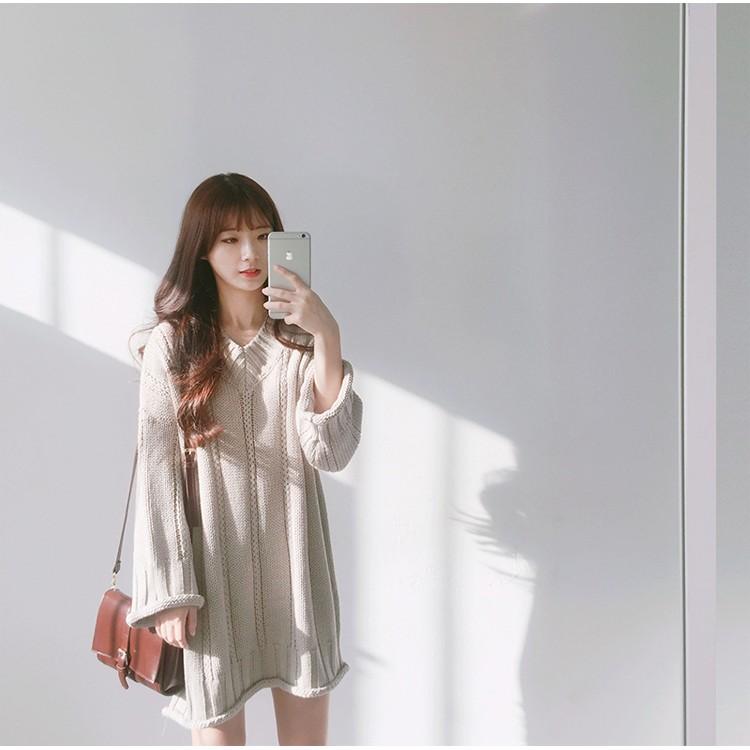 F08 ✨ 100 女神款V 領針織長版洋裝超美甜美韓國洋裝傘洋顯瘦連身裙V 領韓妞最愛日