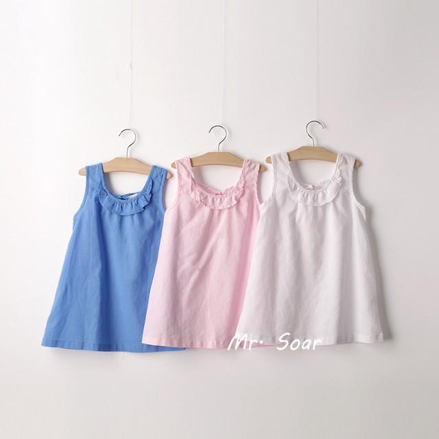 ~Mr Soar ~B364  女童白色粉色藍色棉麻背心裙小洋裝