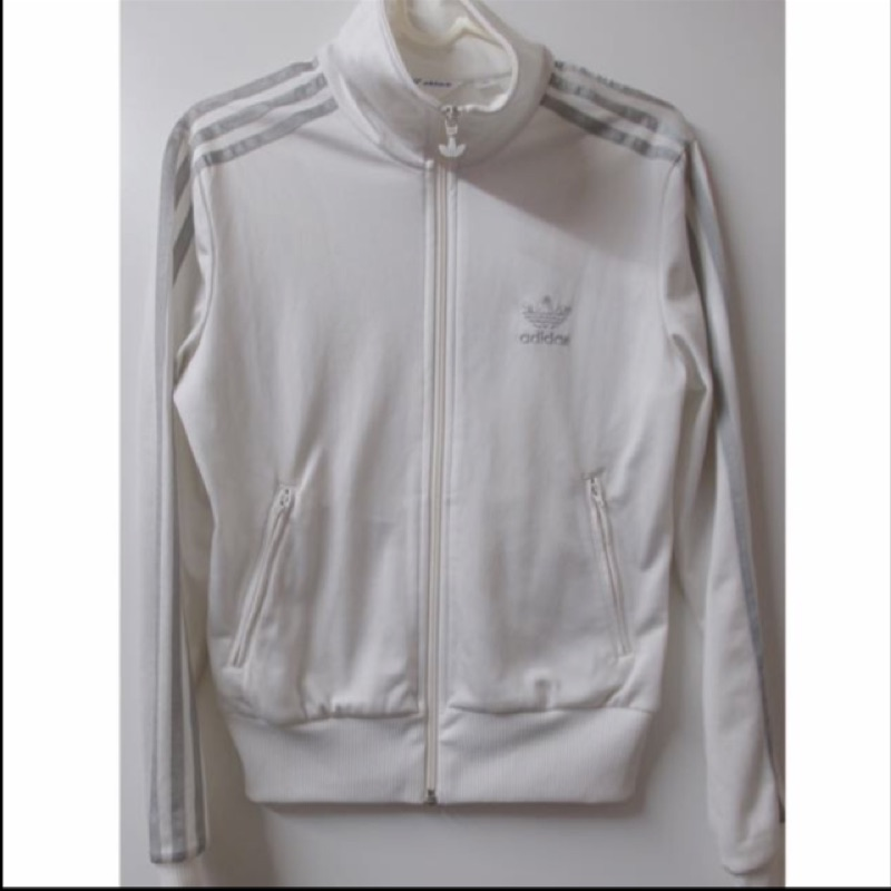 Adidas 愛迪達全白銀色logo 立領外套