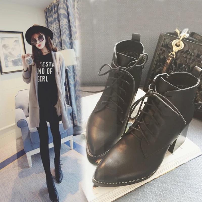英倫風綁帶尖頭裸靴馬丁靴短靴粗跟靴厚底靴高跟鞋拉鍊繫帶短跟潘朵拉日韓音樂