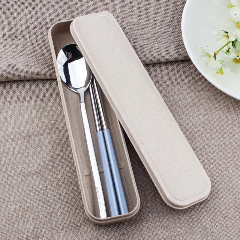 小麥不鏽鋼304 便攜餐具筷子勺子套裝學生可愛筷子盒長柄