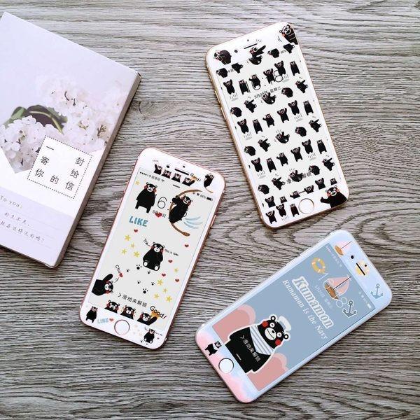 熊本熊款玻璃貼碳纖維軟邊iPhone6 6S 6 PLUS 強化玻璃鋼化膜保護貼滿版滿屏