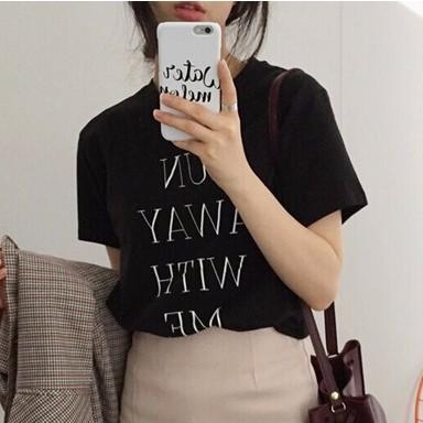 正韓女生短袖上衣間約字母印花圓領舒這寬松短袖T 恤打底衫蝦皮優選