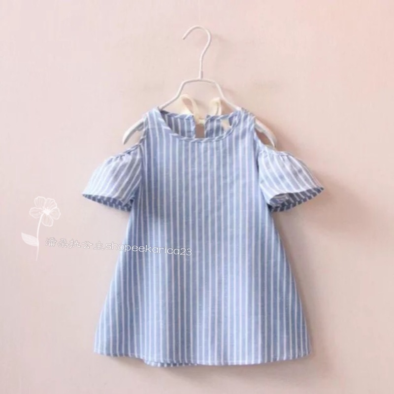 寶寶兒童荷葉邊露肩直條紋襯衫長版上衣洋裝