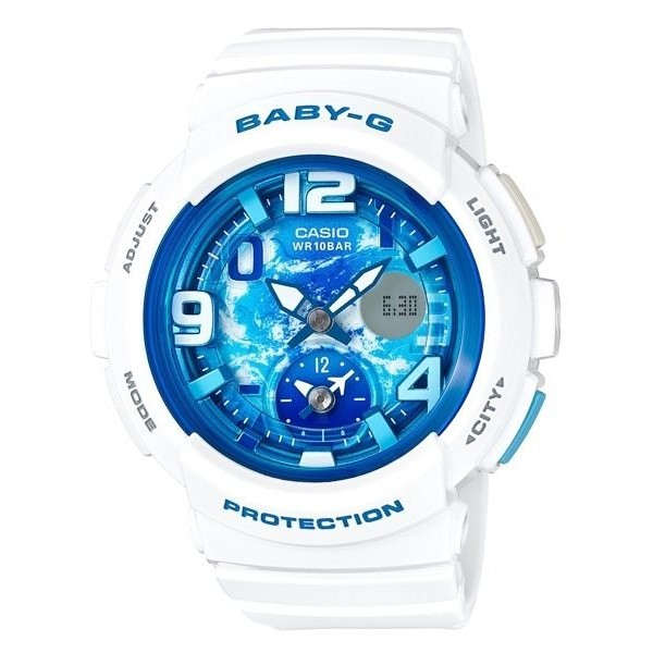 CASIO ~BABY G 地球表面城市系列藍面白膠BGA 190GL 7B 免