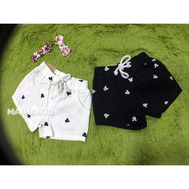 5 7 9 11 13 15 碼 男女童米奇頭滿版刺繡水洗棉牛仔短褲黑白