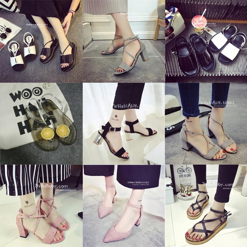 一字扣粗跟涼鞋女夏2017 女士厚底沙灘鞋韓國性感高跟露趾女鞋