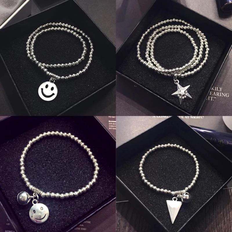可愛 圓珠手鍊佰元飾品可愛笑臉星星幾何三角形愛心多層圓珠手鍊韓國明星同款