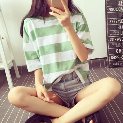 0517 女裝 新品爆款寬鬆短袖夏裝百搭休閒簡約條紋T 恤