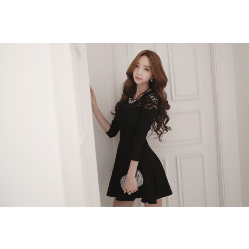 粉色非黑色)韓系優雅蕾絲拼接 長袖洋裝公主泡泡袖七分袖收腰剪接修身顯瘦禮服婚紗