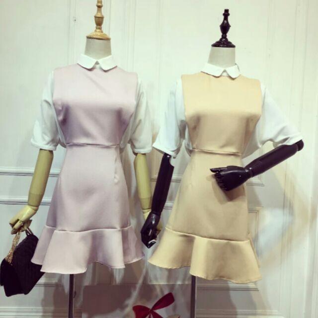 超美甜美雪紡拼接荷葉裙擺洋裝連身裙連衣裙好看顯瘦款