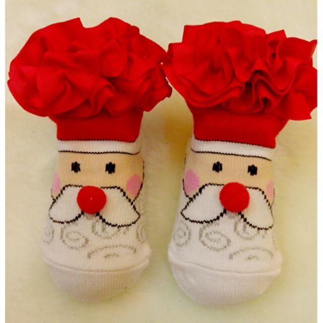 ~Bobo dress ~ 寶寶可愛 襪聖誕老人紅色緞帶蕾絲蝴蝶結節日公主嬰兒短襪(0 1
