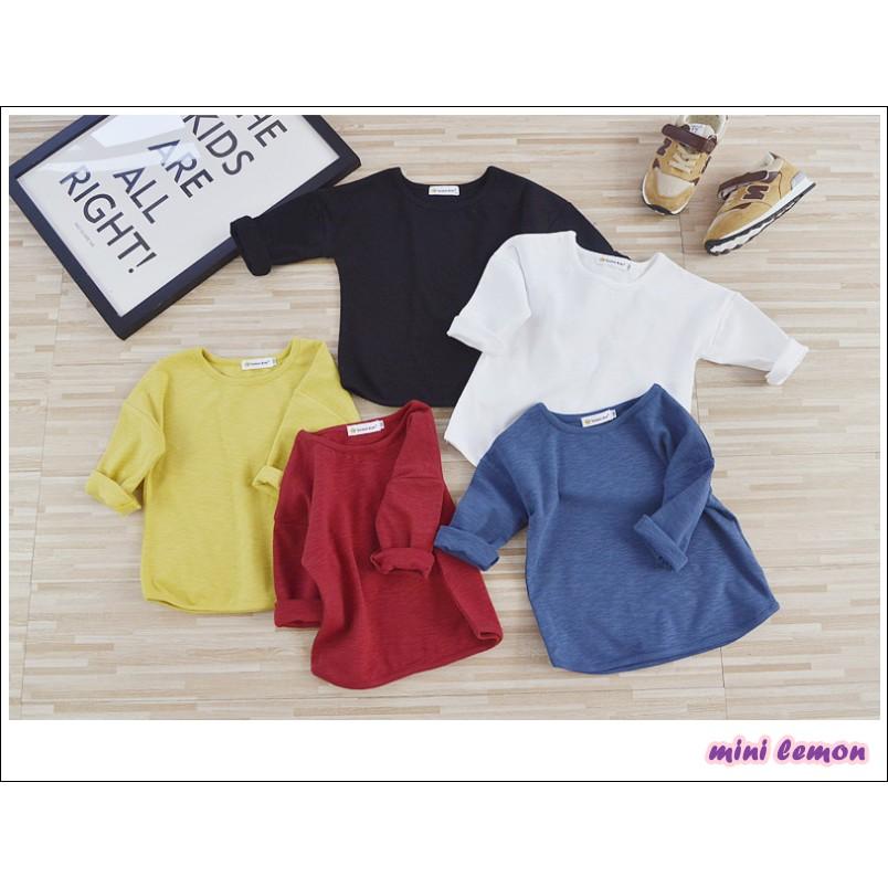 小妮萌 秋款素色百搭有型純棉內搭打底男童女童長袖素T 恤上衣