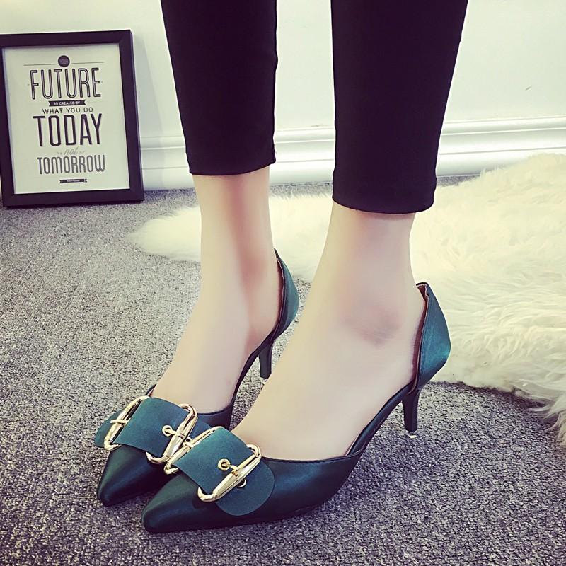 2016  綢緞尖頭細跟單鞋女 低跟側空淺口 女鞋潮女士涼鞋涼鞋平底涼鞋百搭涼鞋休閒涼鞋潮