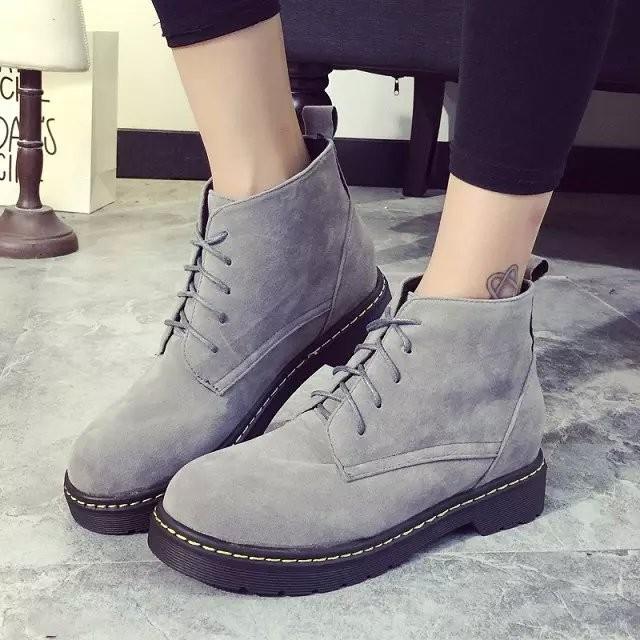 韓國范 女鞋平底防滑馬丁靴潮短筒雪地靴內增高女靴系帶保暖短靴潮女
