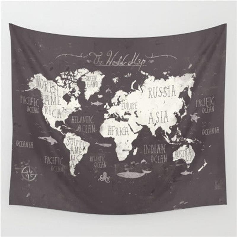深色系列美式鄉村蓋巾世界地圖掛布掛毯牆壁裝飾毯壁掛桌布沙發巾