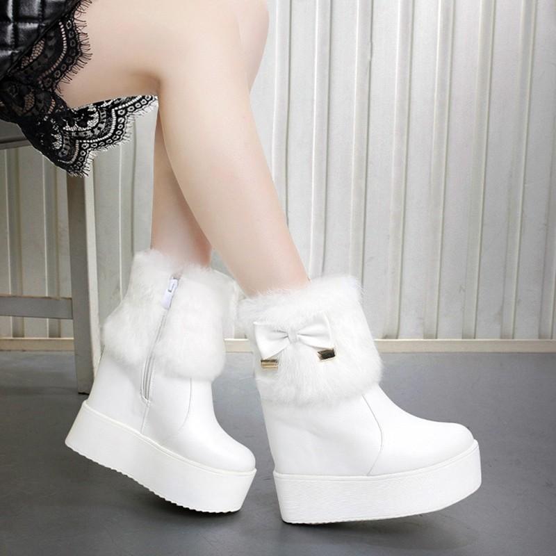兔毛蝴蝶結內增高厚底坡跟短靴 超高跟女靴加絨圓頭馬丁靴
