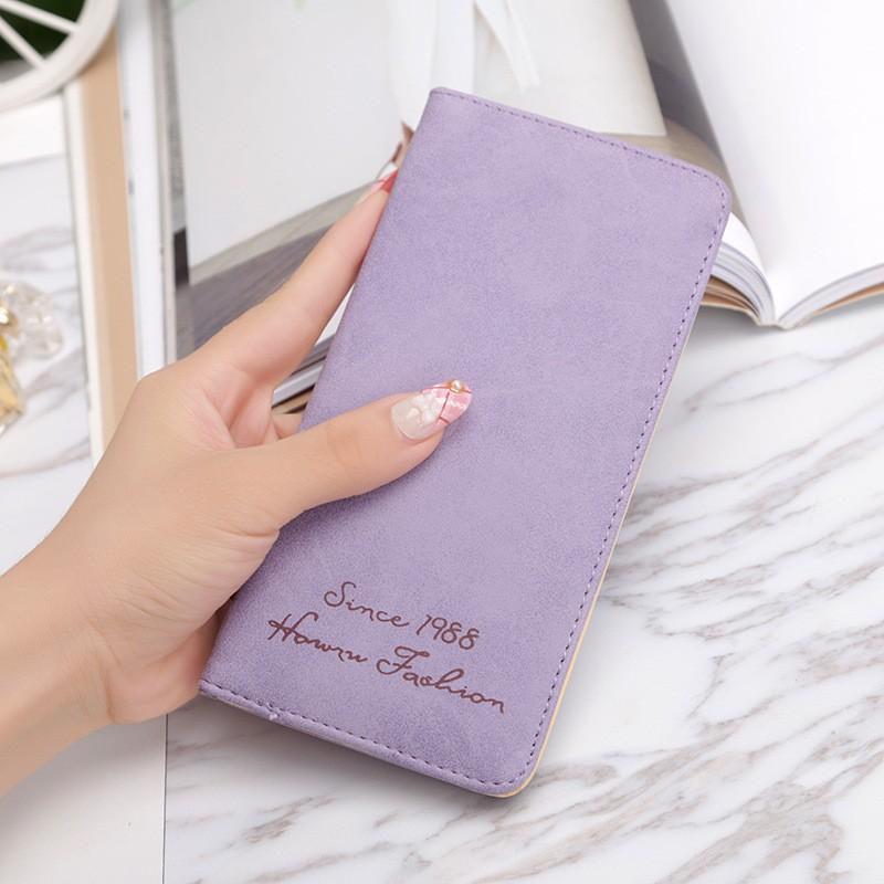 韓國 女士錢包簡約大氣長款零錢包 卡包手拿包扣式錢包超薄磨砂復古學生錢包
