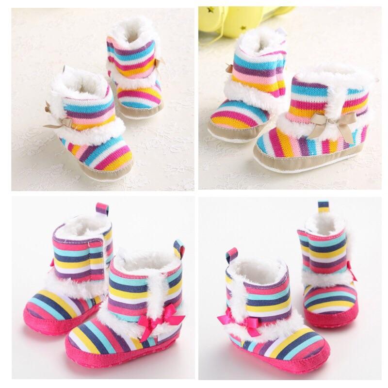 曈曈Baby 爆款 新品外貿學步鞋嬰兒鞋條紋靴子女寶寶雪靴