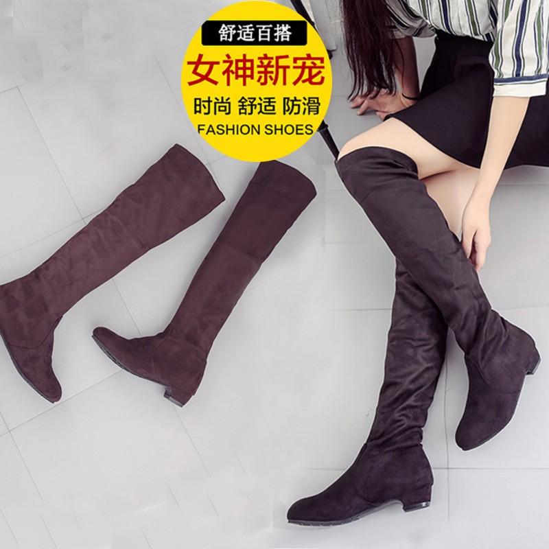 長筒靴彈力過膝靴低跟長靴瘦腿秋 靴子女式高筒靴冬 潮