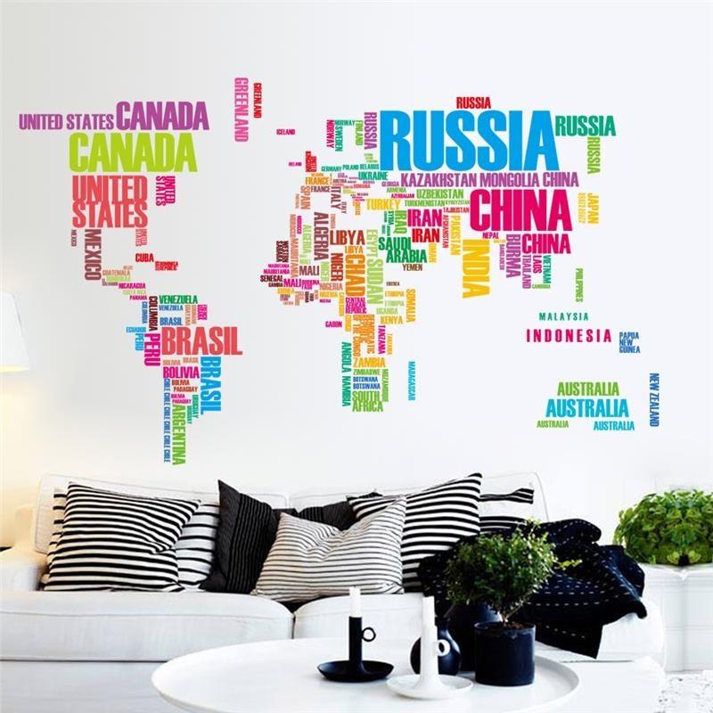 大型彩色世界地圖移動乙烯基牆貼花藝術壁畫家居裝飾牆貼臥室家居裝飾品