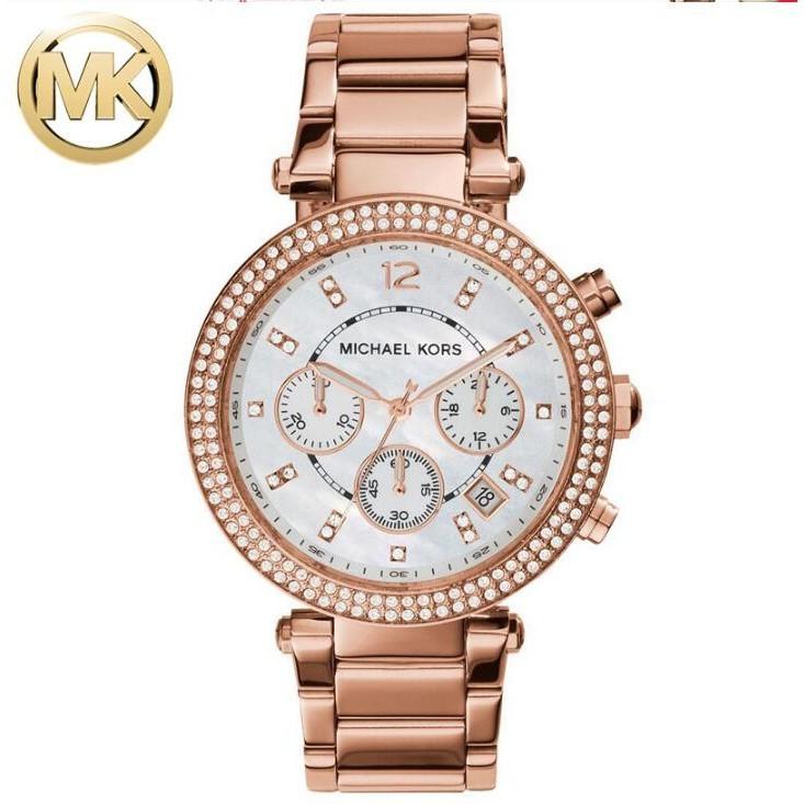~520 ~Michael Kors 手錶mk 手錶女士鋼帶玫瑰金鑲鑽水鑽石英錶女錶MK5