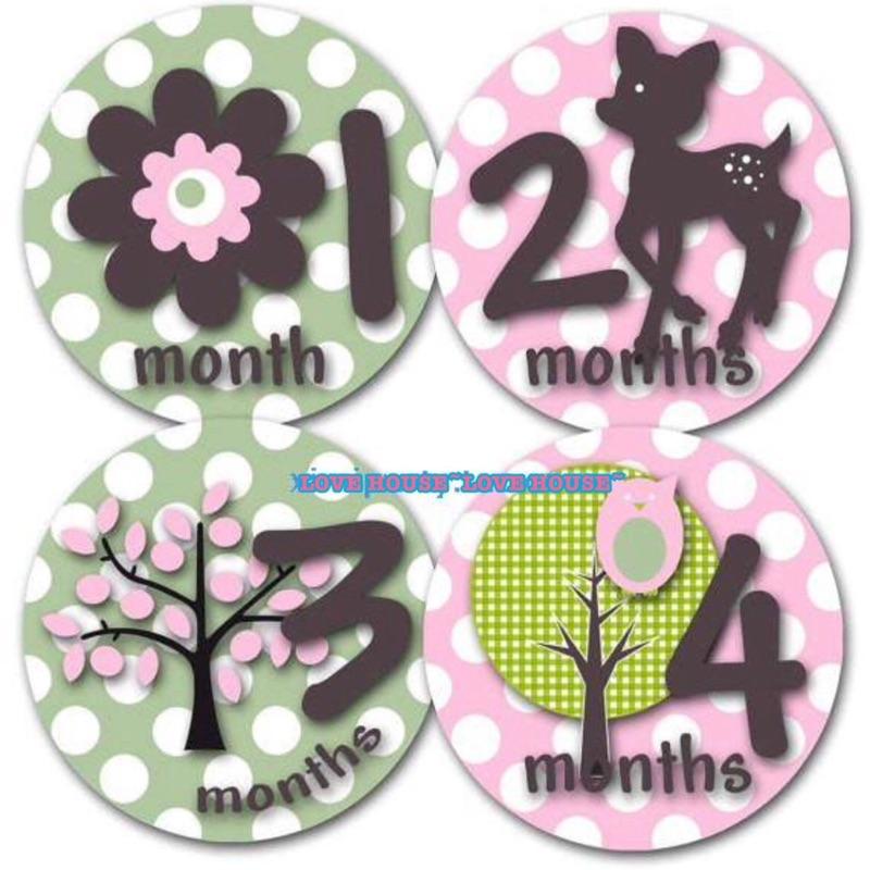 LOVE HOUSE 寶寶月份貼紙紀錄寶寶出生到周歲貼紙彌月禮新生兒滿月成長記錄女寶小鹿斑