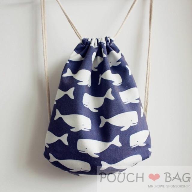 ~POUCH ❤BAG ~可愛水藍色小鯨魚雙肩抽繩束口袋