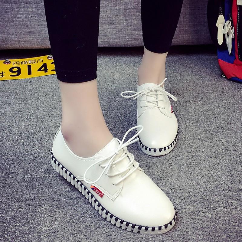 2016  單鞋女 平底內增高小白鞋系帶坡跟板鞋圓頭休閒鞋