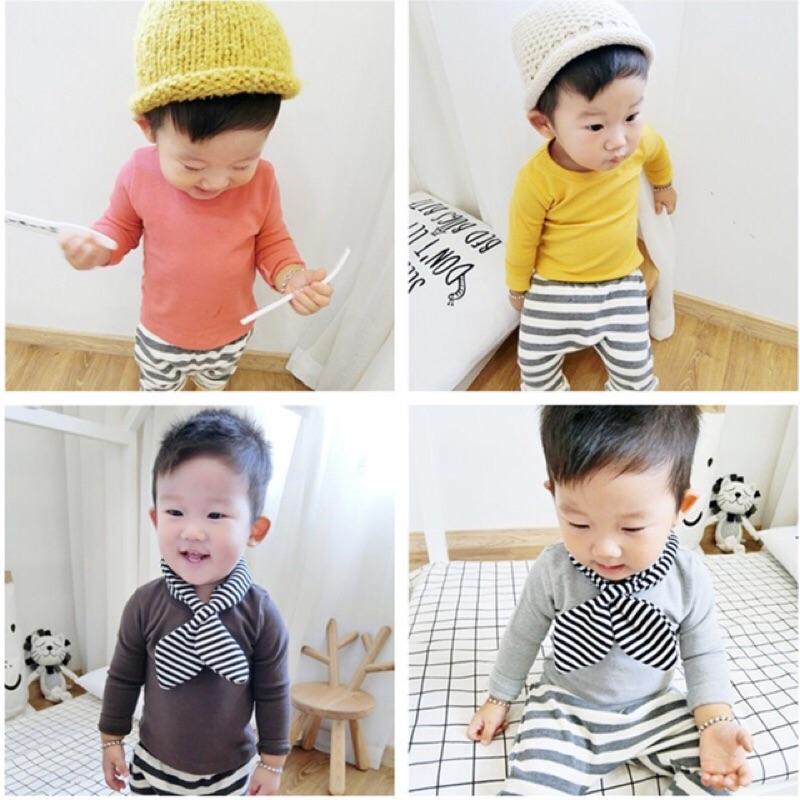 男童女童兒童寶寶素面柔軟舒適棉質長袖圓領T 恤上衣ins 類似款