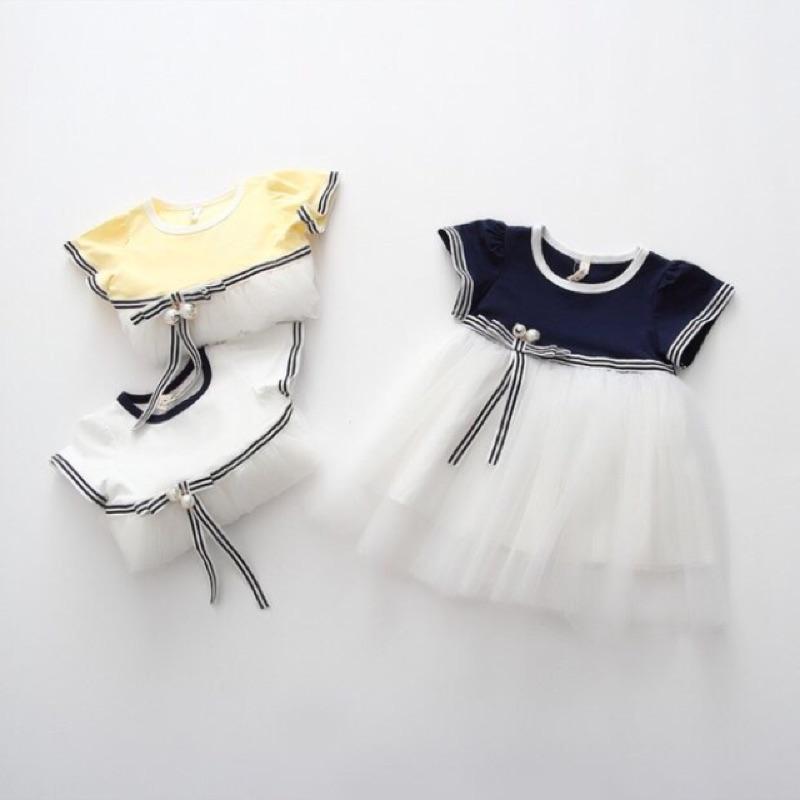 女小童夏裝公主裙 中小童女童兒童山茶花珍珠洋裝