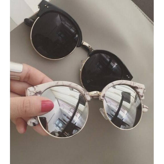 ~ ~2017  爆款V 字復古顯臉小 半框墨鏡太陽眼鏡男女款