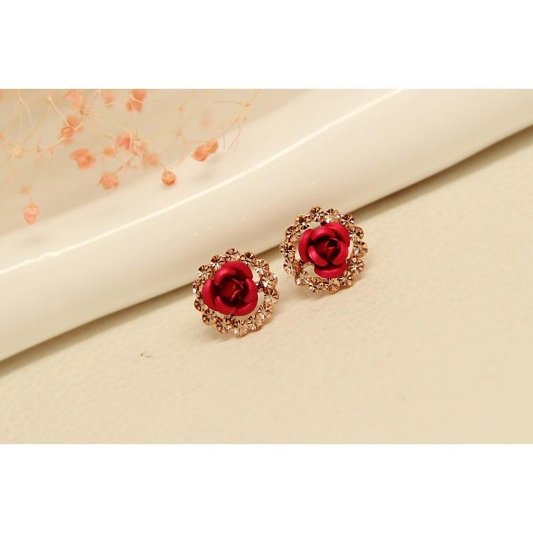 """~茉莉花""""~❤氣質復古紅色玫瑰花純銀耳針❤"""