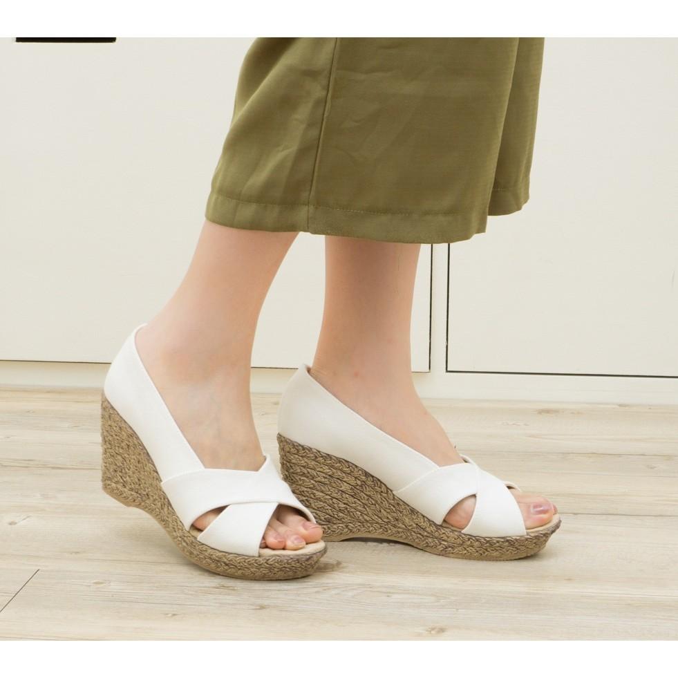 仿木紋羅馬交叉魚口厚底鞋楔型鞋9570
