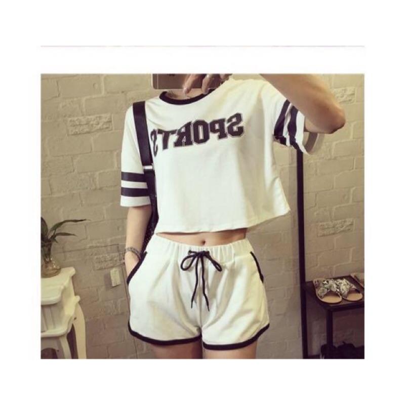 套裝 服寬鬆高腰露肚臍短袖短褲女短款t 恤字母