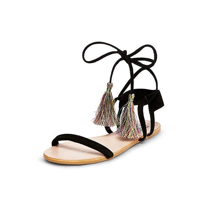 SOLO 賣家秀丶最底價2016  露趾綁帶流蘇平底涼鞋真皮性感羅馬平跟女鞋潮