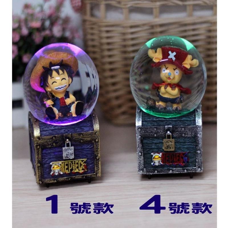 HOT 超 ~海賊王發光音樂盒~宮崎駿龍貓水晶球情人節生日 鬧鐘可動玩具音樂擺飾裝飾卡漫