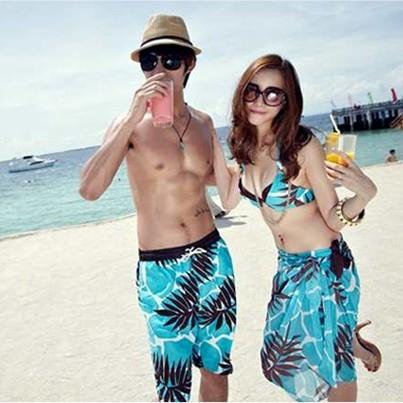 短褲情侶沙灘褲比基尼泳衣披紗套裝馬爾大夫海邊密月度假裝情侶泳裝情侶裝三件式泳裝三件式泳衣泳