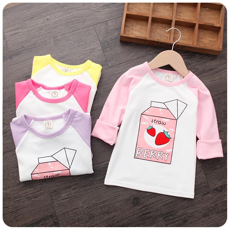 新品特惠2016  男童女童女寶寶草莓牛奶百搭長袖t 恤 加