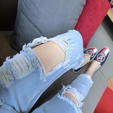 潮破洞女裝牛仔褲 長褲寬鬆女士哈倫小腳褲乞丐褲