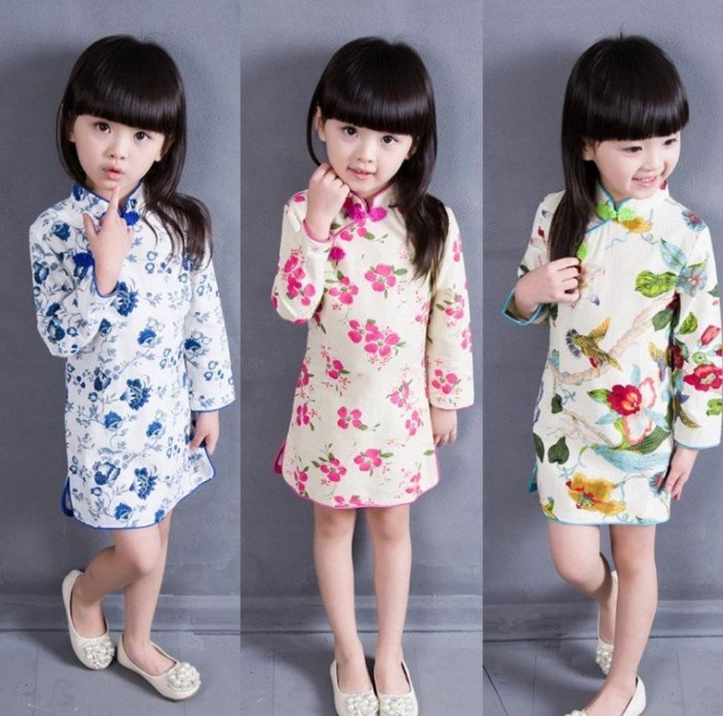 ~娃娃衣~~ 中國風棉麻花朵立領兒童旗袍長袖裙洋裝秋款上市尺寸90 130CM 0016